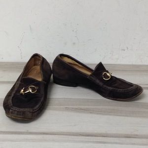 Gucci Brown Suede Gold Hardware Loafer 37